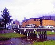 岩手県民会館と盛岡与の字橋…午前1<br />  0時37分