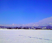 青空と雪景色…矢巾1<br />  月16日13<br />  時30分